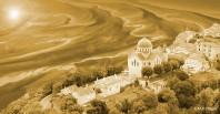 Castelnau entouré d'une mer de sable © M-F Plagès.